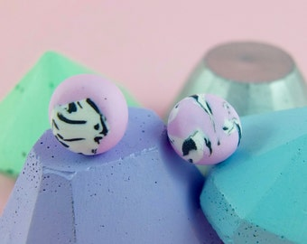 Pink, black & white marble polymer clay round stud earrings with silver plated findings/ unique jewellery/ lightweight earrings/ dot earring