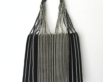 Fair Trade Black & White Stripes Hand Woven Loom/Boho/Hippie/Chic Shoulder Tote Handbag