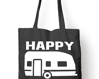 Happy Camper Funny Camping Tote Bag For Life Shopper Festival Camp Shopping E64