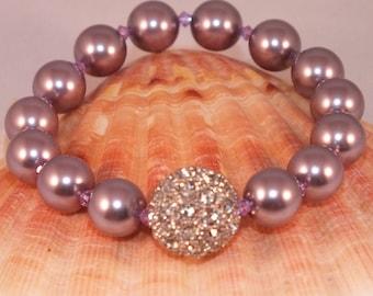 Lilac Beaded Swarovski Crystal Pearl Stretch Bracelet With Rhinestone Focal Bead