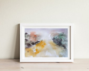 Abstract Watercolor Landscape Painting Print, Contemporary Landscape, Trees Painting Print, Nature Print, Gift Idea, Watercolor Trees