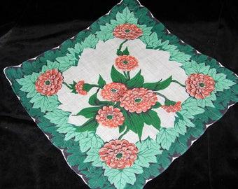 Pristine Vintage 50's Scalloped Peach Dahlia Floral Wedding Handkerchief, Pocket Square or Doily, 1064