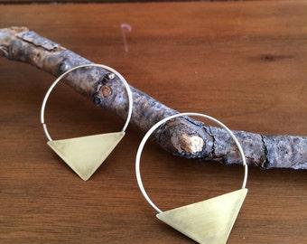 Triangle Hoop Earrings - Sterling Silver / Brass
