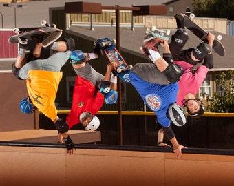"Bones Brigade 2016 Skateboarding Photo 18X24"" and 11X14"" - Animal Chin Ramp Handplants 2016 Skate Photo - Hawk, Cab, McGill, Mountain"