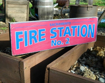 """Distressed Primitive Country Wood Sign - Your Name Fire Station 5.5"""" x 19"""""""