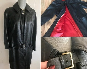 20percentoff Way Cool Vintage 1960's MOD Ladies Leather Coat with Buckle Trim and Red Lining -- Size M-L