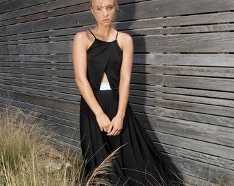 Now on Sale! more then 50% OFF! Black Cut Out dress, bridal dress,  Maxi Dress, Formal Dress,Color Combination Dress.