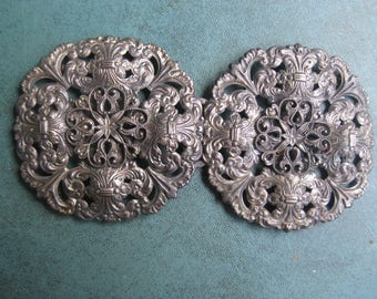 "Vintage Large Intricate Filligree Belt Buckle Each 2 1/2"" Round 5"" in Length Silver Tone"