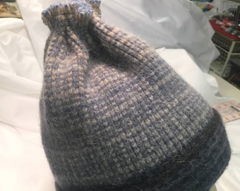 Lambs Wool Angora Winter Ski HAT Upcycled Felted Sweater.  Warm!