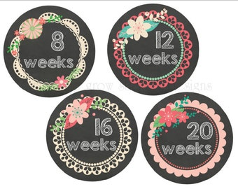 Pregnancy Stickers Belly Stickers Chalkboard Maternity Stickers Baby Bump Stickers Weekly Belly Stickers Expectant Moms Photo Props