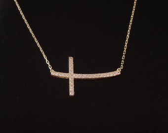 Sideways Cross Necklace - Curved with Cz's in  Sterling Silver, Yellow Gold