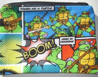 SALE Teenage Mutant Ninja Turtles Zipper Pouch - TMNT, Turtle Power.