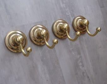 Round Brass Wall Hook / Coat Hook / Robe Hook - set of 4