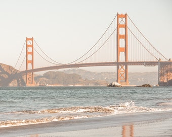Baker Beach Photograph - Golden Gate Bridge Art - San Francisco Bay Fine Art Print - Photography, Black & White, Blue Tone, Framed Print
