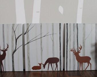 SALE Deer Nursery Decor, Woodland Nursery, Deer Painting, Forest Nursery, Deer Woodland, Deer Nursery, Deer Decor, Modern Deer Nursery