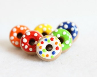 Colorful Polymer Clay Donut Pushpins, Set of 6