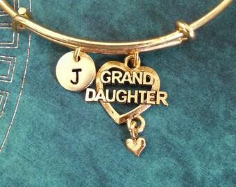 Granddaughter Bangle Grand Daughter Bracelet Gold Granddaughter Heart Charm Bracelet Stackable Bangle Adjustable Bangle Personalized Bangle