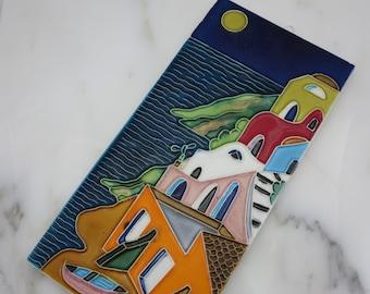 Ceramic Art Tile Wall Hanging - Colorful Village Houses Beach Scene Folk Art