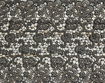 """BLACK & GOLD, 7"""" Wide, Embroidered Lace Trim, BTY By The Yard"""