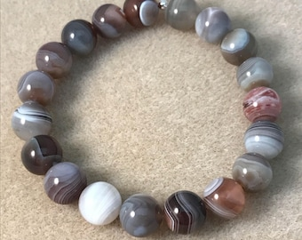 Botswana Agate 10mm Round Bead Stretch Bracelet with Sterling Silver Accent -- Lovely Coffee and Grey Tones