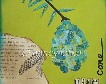 pinecone - 6 x 6 ORIGINAL COLLAGE by Nancy Lefko