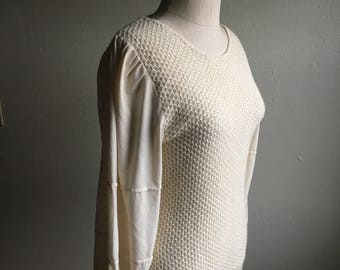 vintage nubby knit cream color puff sleeve sweater shirt made in taiwan