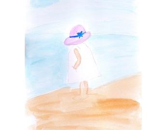 Beach print, digital art, watercolour print, A4 print digital print