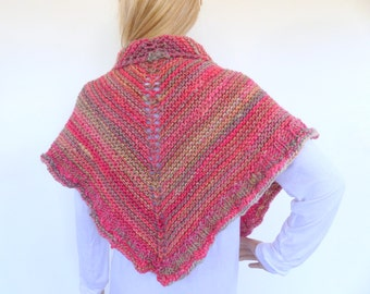 Triangle knit Shawl Hand knit shawl hand knitted wrap  Knit Poncho