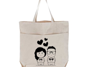 Personalized Canvas Tote Bag with Pockets, Large, Couple Cartoon Characters Portrait Wedding Gift, Bridesmaid, Custom Natural Utility Tote