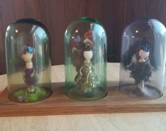 Maiden Mother & Crone Triple Goddess Wiccan Peg Dolls Trinity Cloche OOAK Hand Painted Nature Doll Set