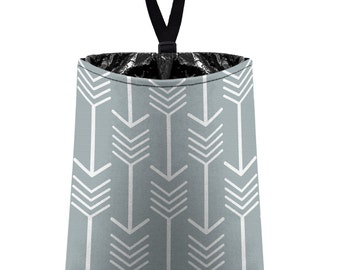 Car Trash Bag // Auto Trash Bag // Car Accessories // Car Litter Bag // Car Garbage Bag - Arrows (light grey silver white) // Car Organizer