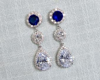 Sapphire Blue, Emerald Green or Amethyst Purple Cubic Zirconia CZ Dangle Bridal Earrings, Bridal, Wedding (Sparkle-2875)