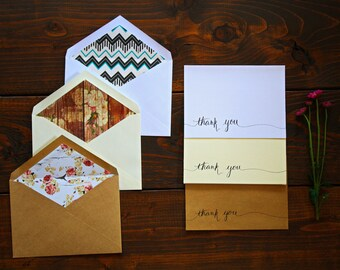 Thank You Cards, Thank You Cards Bulk, Wedding Thank You Cards, Shower Thank You Cards, Thanks You Notes, Handwritten Cards, Lined Envelopes