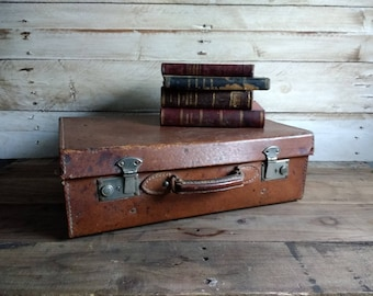 Vintage Leather suitcase, Antique Spanish Brown Leather Suitcase medium Luggage Travel Case Display Stacking Storage Case Coffee Table