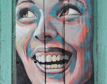 """Painting on wood """"Bonheur"""""""
