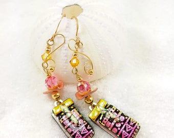 Artistic dichroic jewelry, Dichroic fused glass Earrings, dichroic glass, dichroic jewelry, handmade jewelry, Hana Sakura, Glass fusion