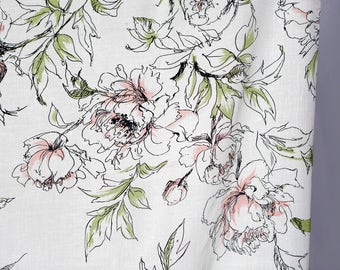 Vintage mid-century Polyester blend shantung fabric / off-white with sketchy loose flowers roses black with faint color - 2 colors