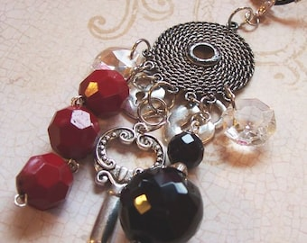 Twilight Symbolic Necklace with Removable Pendant - Black and Red with Crystals - Keys and Hearts