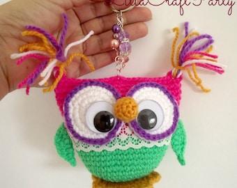 Crochet Pattern OWL Keychain AMIGURUMI Crocheted Owls Toy pdf pattern Instant Download Owl Key Chain Pattern step by step instructions