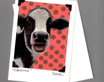 Cow Card - Holstein Cow Card - Oreo Cow Card - Cow Art - Sanctuary One Cow - Proceeds Benefit Animal Charity