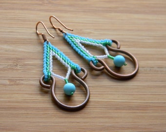 Copper and Seed Bead Earrings