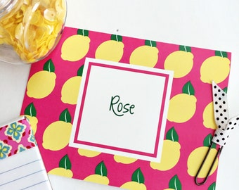 Lemon Note Cards, lemon Stationery, lemons, Monogrammed Stationery, Personalized Note Cards, Personalized Stationery, Notecards
