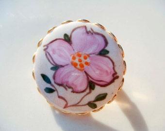 Vintage Pink Flower Ceramic Painted Brooch