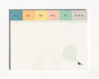 Chickadee Desk Pad : Weekly To Do Notepad Planner and Organizer
