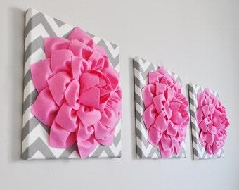 "Bright Pink Wall Art -Set Of Three Pink Dahlias on Gray and White Chevron 12 x12"" Canvas Wall Art- Home Decor- Flower Dorm Wall Art Home art"