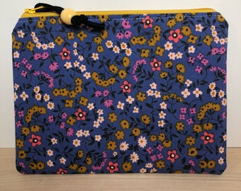 Clothesline floral periwinkle from the Lucky Strikes collection print  zippered pouch