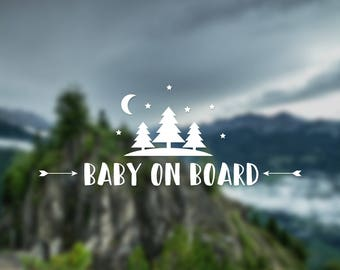 Baby on board decal, tree decal, nature decal, wall decal, car decal, baby decal, window decal, baby shower gift, pregnancy