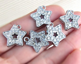 Set of 5, star pendant, rhinestone star pendant, star pendant, silver star, bling charms, sparkle pendants