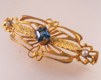 Art Nouveau Gold Filled Blue Stone & Seed Pearl Bar Pin Brooch Antique Jewelry Antique Brooch Antique Pin Gift for Her Gift For Mom