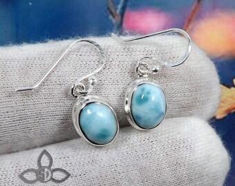 Larimar Earring, Larimar Gemstone, Larimar Jewellery, Dangle Earring, 925 Sterling Silver, Plain Silver Earring, Birthday Gift, Jewellery
